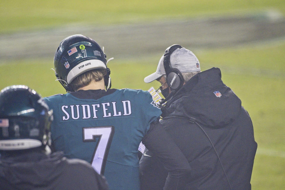 PHILADELPHIA, PA - JANUARY 03: Philadelphia Eagles quarterback Nate Sudfeld (7) discusses a play with Philadelphia Eagles head coach Doug Pederson during the game between the Washington Football Team and the Philadelphia Eagles on January 3, 2021 at Lincoln Financial Field in Philadelphia, PA. (Photo by Andy Lewis/Icon Sportswire via Getty Images)