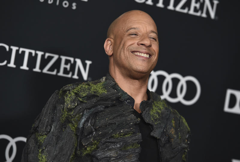 "Vin Diesel arrives at the premiere of ""Avengers: Endgame"" at the Los Angeles Convention Center on Monday, April 22, 2019. (Photo by Jordan Strauss/Invision/AP)"