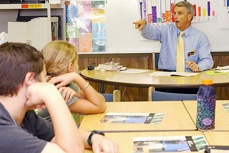"""<p>The CEO of Office Depot, Bruce Nelson, acts as """"Principal for a Day"""" at an elementary school in Delray Beach, FL.</p><p><strong>RELATED: </strong><a href=""""https://www.goodhousekeeping.com/life/g21565162/best-pens/"""" rel=""""nofollow noopener"""" target=""""_blank"""" data-ylk=""""slk:The Best Pens for Back-to-School Season and Beyond"""" class=""""link rapid-noclick-resp"""">The Best Pens for Back-to-School Season and Beyond</a></p>"""
