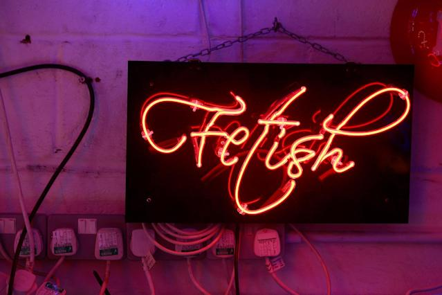 <p>A neon sign that reads 'Fetish' forms part of an artwork exhibited in God's Own Junkyard gallery and cafe in London, Britain, May 13, 2017. (Photo: Russell Boyce/Reuters) </p>