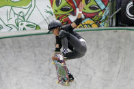 FILE - In this Sunday, May 23, 2021 file photo, Kokona Hiraki, of Japan, competes in the women's Park Final during an Olympic qualifying skateboard event at Lauridsen Skatepark in Des Moines, Iowa. Skateboarding is one of four debut sports at the Tokyo Games, along with karate, surfing and sport climbing. (AP Photo/Charlie Neibergall, File)