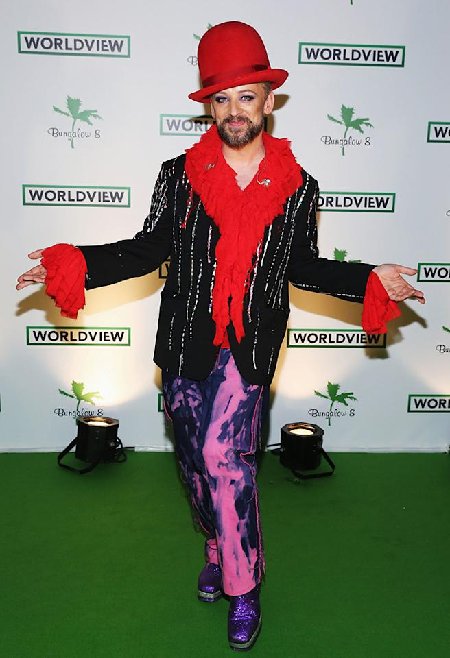 CANNES, FRANCE - MAY 17:  Boy George attends the Worldview Entertainment Cannes Celebration  during the 66th Annual Cannes Film Festival at Carlton Beach Club on May 17, 2013 in Cannes, France.  (Photo by Neilson Barnard/Getty Images for Worldview Entertainment)