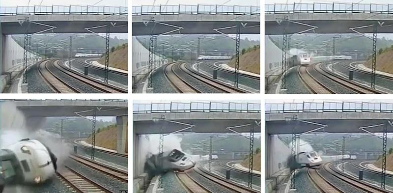 This combo image taken from security camera video shows clockwise from top left a train derailing in Santiago de Compostela, Spain, on Wednesday July 24, 2013. Spanish investigators tried to determine Thursday why a passenger train jumped the tracks and sent eight cars crashing into each other just before arriving in this northwestern shrine city on the eve of a major Christian religious festival, killing at least 77 people and injuring more than 140. (AP Photo)