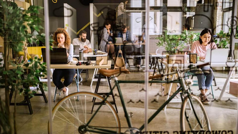 Bicycle in co-working space.
