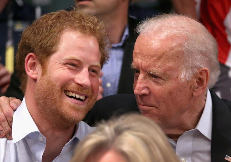 ORLANDO, FL - MAY 11:  Prince Harry and Deputy President of the United States of America Joe Biden watch USA Vs Denmark in the wheelchair rugby match at the Invictus Games Orlando 2016 at ESPN Wide World of Sports on May 10, 2016 in Orlando, Florida. Prince Harry, patron of the  Invictus Games Foundation is in Orlando for the Invictus Games 2016. The Invictus Games is the only International sporting event for wounded, injured and sick servicemen and women. Started in 2014 by Prince Harry the Invictus Games uses the power of Sport to inspire recovery and support rehabilitation.  (Photo by Chris Jackson/Getty Images for Invictus Games)