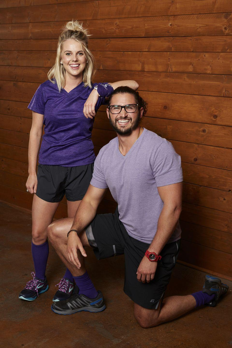 """<p>Nicole Franzel and Victor Arroyo met when they were housemates on season 18 of <em>Big Brother. </em>They didn't date on the show, but their relationship evolved after the season wrapped. Victor <a href=""""https://www.bustle.com/entertainment/nicole-franzel-victor-arroyos-wedding-updates-show-they-have-some-tough-choices-to-make-17043439"""" rel=""""nofollow noopener"""" target=""""_blank"""" data-ylk=""""slk:proposed to Nicole"""" class=""""link rapid-noclick-resp"""">proposed to Nicole</a> during a guest appearance on season 20. Since then, they competed as a team on <em>The Amazing Race</em>.</p>"""
