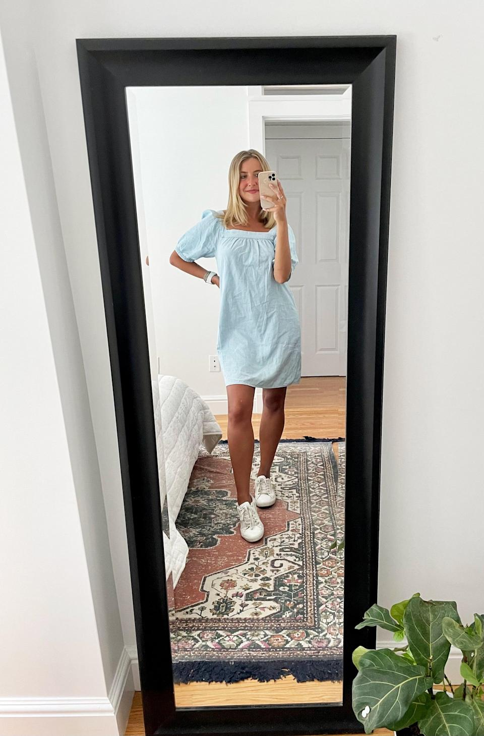 <p>I love how the <span>Puff-Sleeve Light-Wash Jean Mini Swing Dress for Women</span> ($45) pairs with white sneakers. Oh, and can we talk about how those sleeves give my small frame the perfect amount of emphasis? </p>