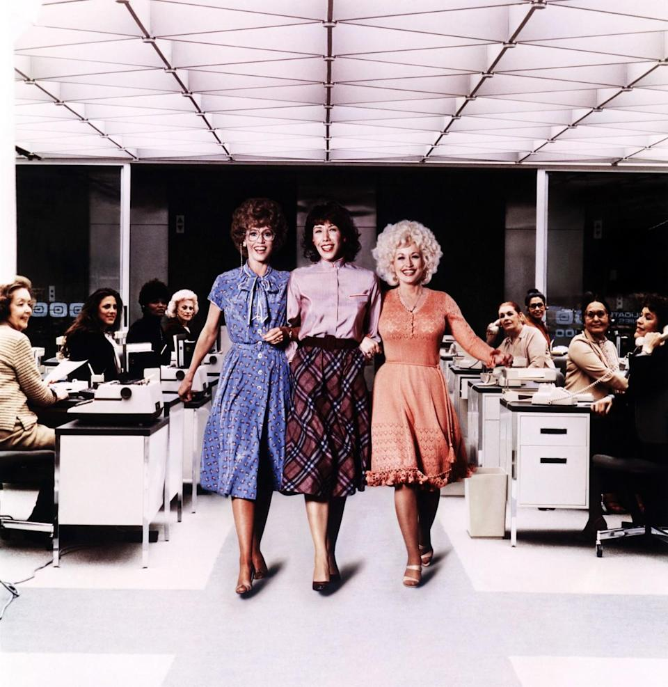 <p>Before Lean In became a movement, there was this comedy film — starring Jane Fonda, Lily Tomlin, and Dolly Parton — about three working women who dream of overthrowing their sleazy male boss. Tomlin plays Violet, who discovers that a man was promoted to a position she was vying for due to sexist hiring practices. The trio teams up to fight to take over the company and demand equal pay. <i>(Source: Everett Collection)</i></p>
