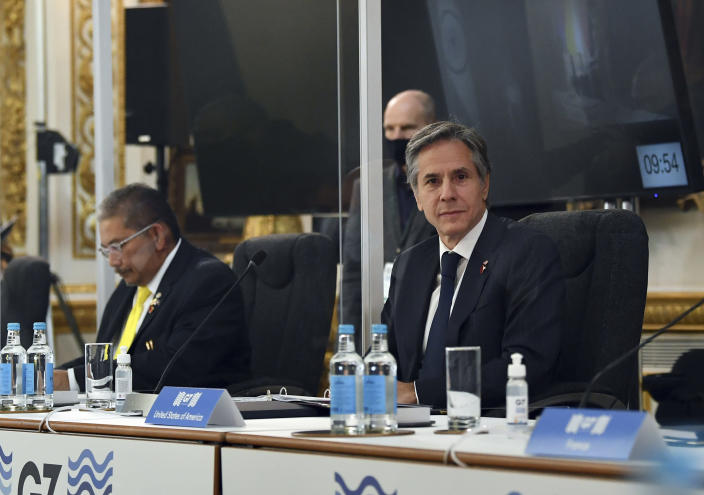 US Secretary of State Antony Blinken attends the G7 foreign ministers meeting in London, Wednesday, May 5, 2021. Diplomats from the group of wealthy nations are meeting in London for their first face-to-face gathering in two years. (Ben Stansall/Pool Photo via AP)