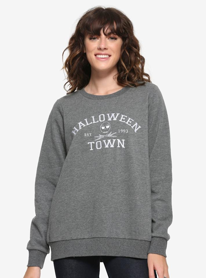"""<p>Technically, this <a href=""""https://www.popsugar.com/buy/Halloween-Town-Crewneck-Sweater-480223?p_name=Halloween%20Town%20Crewneck%20Sweater&retailer=boxlunch.com&pid=480223&price=36&evar1=savvy%3Aus&evar9=46496913&evar98=https%3A%2F%2Fwww.popsugar.com%2Fphoto-gallery%2F46496913%2Fimage%2F46496926%2FNightmare-Before-Christmas-Halloween-Town-Crewneck-Sweater&list1=halloween%2Cugly%20sweater&prop13=api&pdata=1"""" rel=""""nofollow"""" data-shoppable-link=""""1"""" target=""""_blank"""" class=""""ga-track"""" data-ga-category=""""Related"""" data-ga-label=""""http://www.boxlunch.com/product/disney-the-nightmare-before-christmas-halloween-town-crewneck-sweater---boxlunch-exclusive/11925866.html?_br_psugg_q=nightmare+before+christmas+sweater"""" data-ga-action=""""In-Line Links"""">Halloween Town Crewneck Sweater</a> ($36, originally $45), inspired by <strong><a href=""""https://www.popsugar.com/latest/The-Nightmare-Before-Christmas"""" class=""""ga-track"""" data-ga-category=""""Related"""" data-ga-label=""""http://www.popsugar.com/latest/The-Nightmare-Before-Christmas"""" data-ga-action=""""In-Line Links"""">The Nightmare Before Christmas</a></strong>, works as an ugly <a class=""""sugar-inline-link ga-track"""" title=""""Latest photos and news for halloween"""" href=""""https://www.popsugar.com/Halloween"""" target=""""_blank"""" data-ga-category=""""Related"""" data-ga-label=""""https://www.popsugar.com/Halloween"""" data-ga-action=""""&lt;-related-&gt; Links"""">Halloween</a> <em>and</em> Christmas sweater.</p>"""