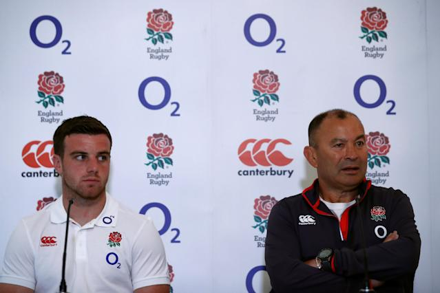Rugby Union - England Press Conference - Pennyhill Park, Bagshot, Britain - May 25, 2018 England's George Ford (L) and head coach Eddie Jones during the press conference Action Images via Reuters/Andrew Couldridge
