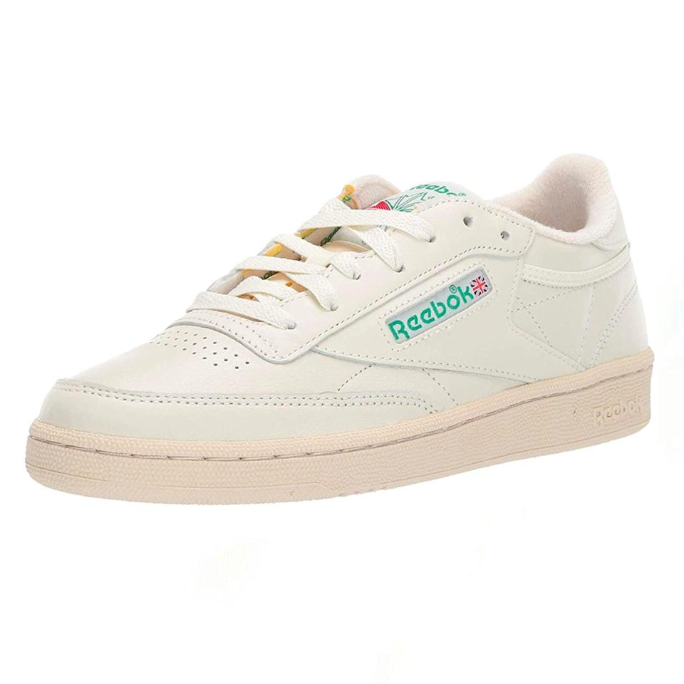 """Reebok has had a resurgence in the last few years, and its Club C 85 sneakers are leading the charge. Playing off classic tennis shoes, these perforated leather low-tops will work with a number of comfy-chic summer outfits. These vintage-inspired kicks are known to have a decent bounce with every step, and offer full-foot support so you can wear them all day long. $35, Amazon. <a href=""""https://www.amazon.com/Reebok-Womens-Sneaker-Chalk-Excellent/dp/B07D644SZK/ref="""" rel=""""nofollow noopener"""" target=""""_blank"""" data-ylk=""""slk:Get it now!"""" class=""""link rapid-noclick-resp"""">Get it now!</a>"""