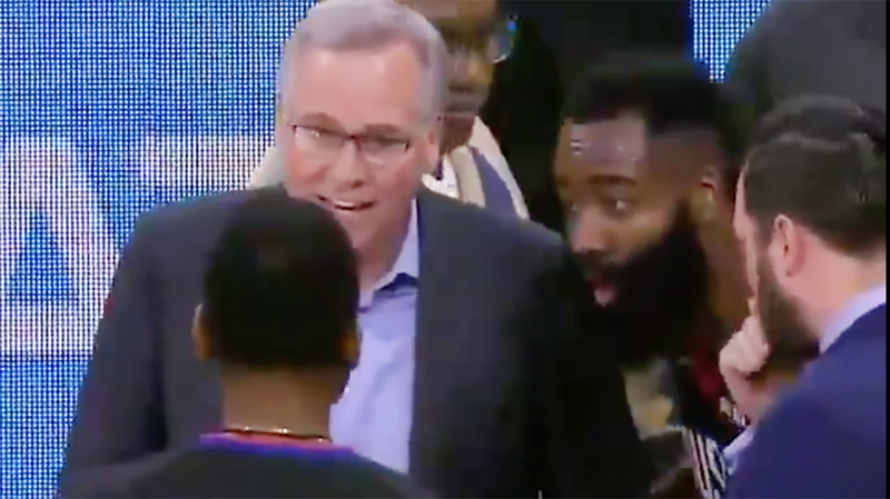 Houston Rockets coach Mike D'Antoni and star guard James Harden are pictured argue with the referees.