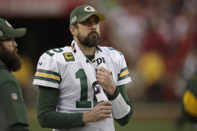 Green Bay Packers quarterback Aaron Rodgers (12) watches from the sideline during the first half of the NFL NFC Championship football game against the San Francisco 49ers Sunday, Jan. 19, 2020, in Santa Clara, Calif. (AP Photo/Ben Margot)