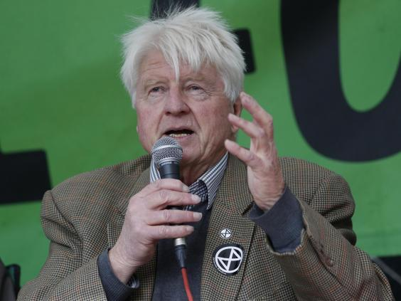 Stanley Johnson speaks to a crowd of Extinction Rebellion activists at Trafalgar Square (AP)