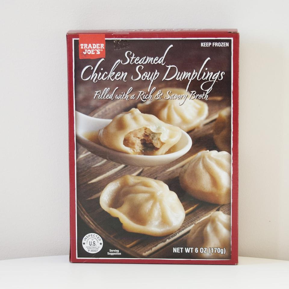 <p>One taste of the Trader Joe's Steamed Chicken Soup Dumplings and you'll be addicted. Each dumpling is filled with chicken and a rich broth that will have you head over heels for this frozen find.</p>