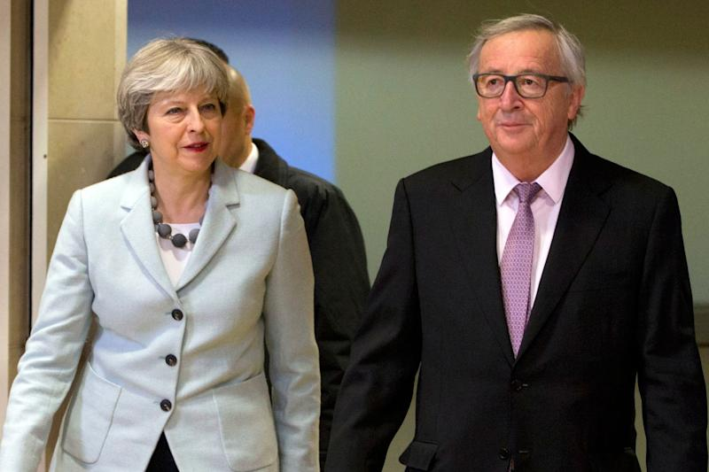 Theresa May and European Commission President Jean-Claude Juncker prior to the announcement of the Brexit deal: AP