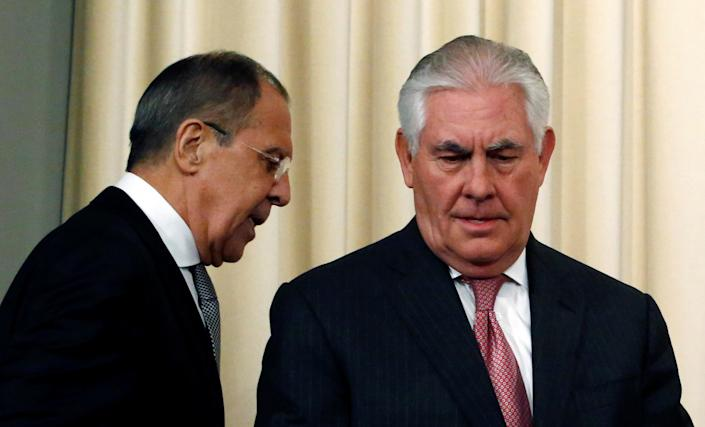 Russian Foreign Minister Sergei Lavrov and U.S. Secretary of State Rex Tillerson following talks in Moscow on April 12. (Photo: Sergei Karpukhin/Reuters)