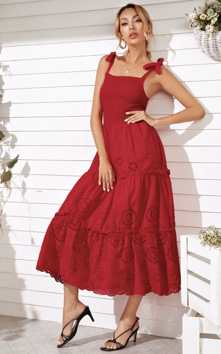 Knot Shoulder Eyelet Embroidery Shirred Cami Dress -  SHEIN.