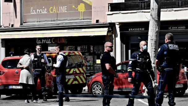 PHOTO: Police officers stand in a street in the center of Romans-sur-Isere, France, on April 4, 2020, after a man attacked several people with a knife, killing two and injuring seven before being arrested, according to sources close to the investigation. (Jeff Pachoud/AFP via Getty Images)