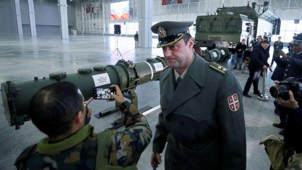 PHOTO: Journalists and military attaches attend a news briefing on cruise missile systems including SSC-8/9M729 model, at Patriot Expocentre near Moscow, Jan. 23, 2019. (Maxim Shemetov/Reuters, FILE)