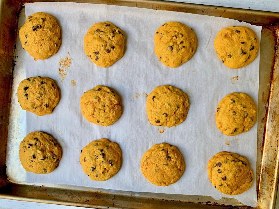 "<p><strong>Recipe: </strong><a href=""http://www.southernliving.com/recipes/easy-pumpkin-chocolate-chip-cookies"" rel=""nofollow noopener"" target=""_blank"" data-ylk=""slk:Easy Pumpkin Chocolate Chip Cookies"" class=""link rapid-noclick-resp""><strong>Easy Pumpkin Chocolate Chip Cookies</strong></a></p> <p>When the temperature drops ever so slightly, we're immediately ready for fall, which means pumpkin everything—including these soft chocolate chip cookies.</p>"
