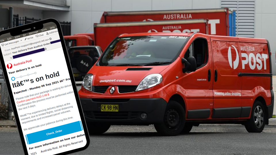 Image of Australia Post delivery truck with email screenshot