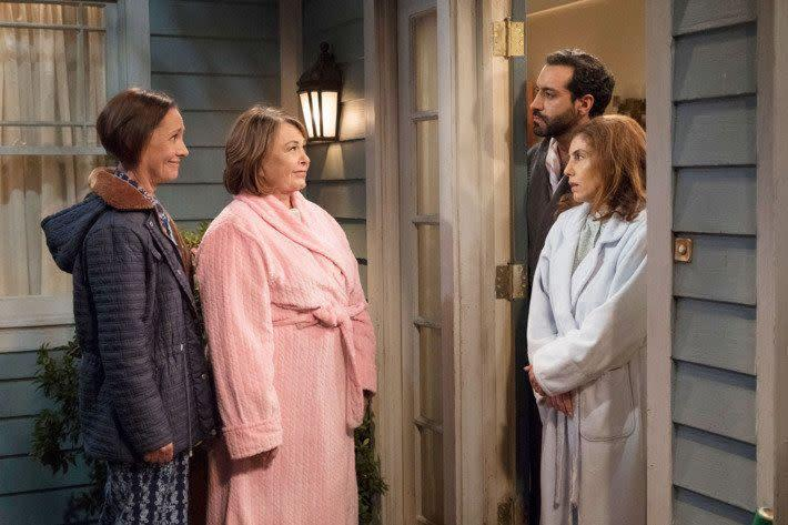 On Episode 7, Roseanne and her sister, Jackie, react to Muslim neighbors moving in. (Photo: ABC)