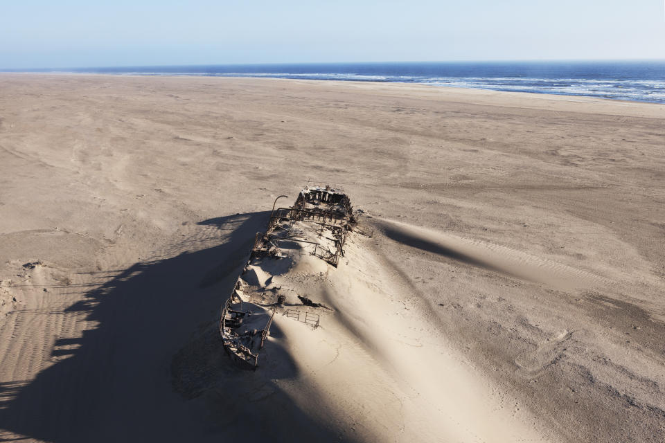 The Eduard Bohlen wreck, a supply ship for the miners that ran aground in 1909 on the Skeleton Coast, Namibia. Its steel hull and the channel they dug to try and re-float it can still be seen.