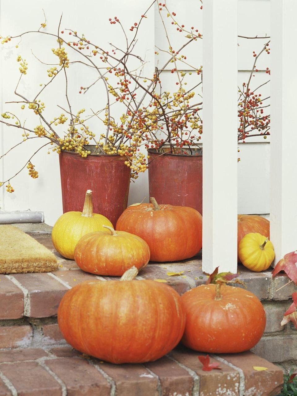 <p>Too busy to decorate for Halloween? Just set a few un-carved pumpkins on your doorstep and arrange berry branches cut from your yard inside vintage tin buckets. Done! </p>