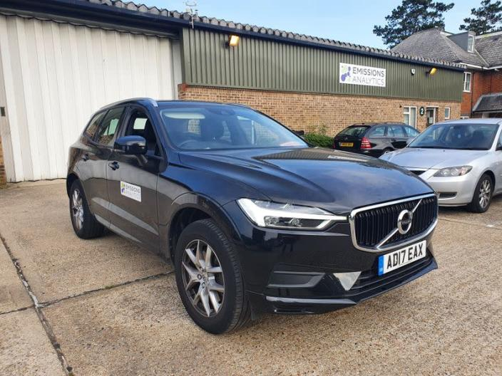 A Volvo XC60 plug-in hybrid is pictured while undergoing tests by Emissions Analytics for a study on emissions by NGO Transport & Environment