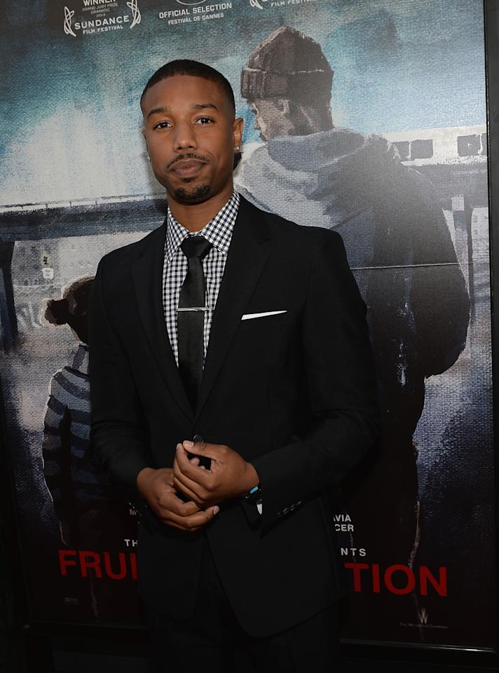 """LOS ANGELES, CA - JUNE 17: Actor Michael B. Jordan arrives at the premiere of The Weinstein Company's """"Fruitvale Station"""" at Regal Cinemas L.A. Live on June 17, 2013 in Los Angeles, California. (Photo by Michael Buckner/Getty Images for The Weinstein Company)"""