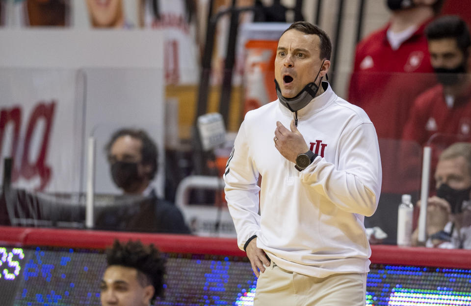 Indiana head coach Archie Miller reacts to the action on the court.