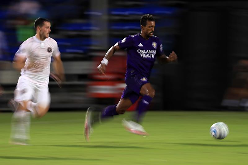 Orlando City won the opening match of the MLS is Back Tournament over Inter Miami on a stoppage-time goal by Nani. (Mike Ehrmann/Getty Images)