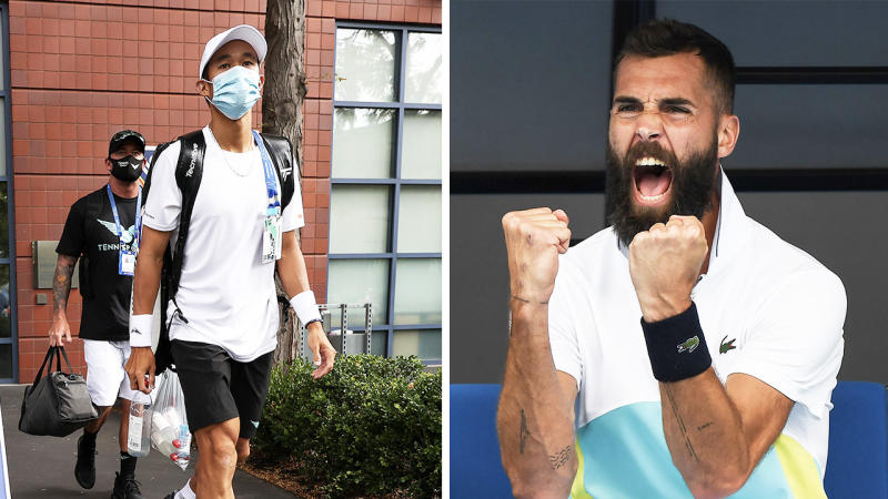 Benoit Paire (pictured right) screaming and fist-pumping and a player (pictured right) leaving the bubble.