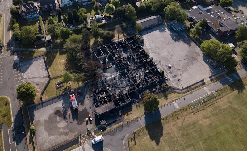 A Derbyshire Primary School was ravaged by fire just days before it was due to reopen from lockdown (SWNS)