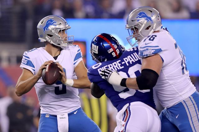 Matthew Stafford had a good night in leading the Lions to victory against the New York Giants in prime time. (Getty Images)