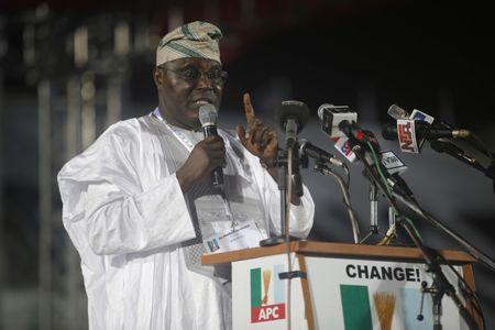 Presidential aspirant and Nigeria's former Vice-President Abubakar speaks as he presents his manifesto at All Progressives Congress party convention in Lagos
