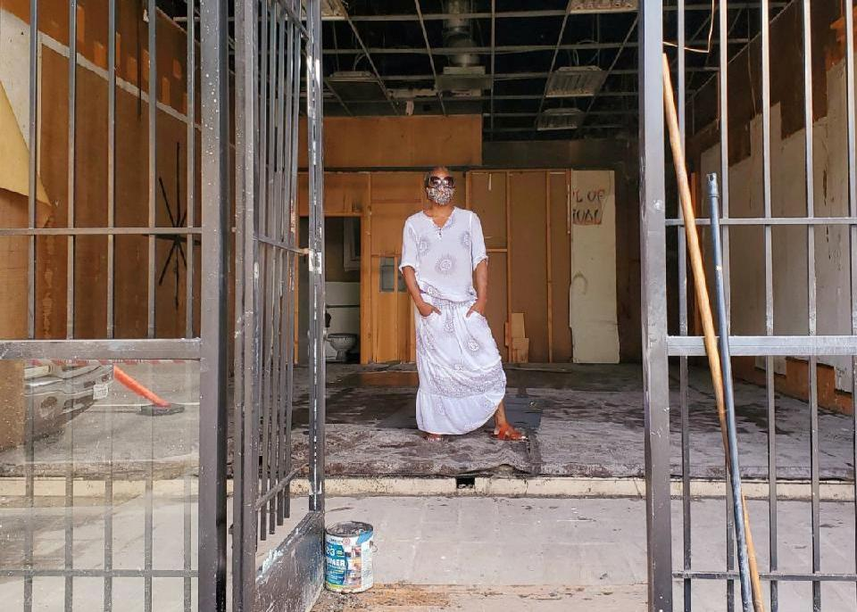 Zahalea Anderson stands in what remains of her self-defense studio in Long Beach. (Courtesy of Zahalea Anderson)