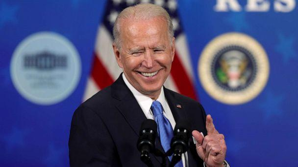 PHOTO: President Joe Biden speaks during an event with the CEOs of Johnson & Johnson and Merck at the South Court Auditorium of the Eisenhower Executive Office Building in Washington, March 10, 2021. (Alex Wong/Getty Images)