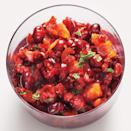 """This raw, tangy, refreshing relish cuts through the richness of all the classic Thanksgiving sides. <a href=""""https://www.epicurious.com/recipes/food/views/cranberry-orange-relish-with-mint-51122210?mbid=synd_yahoo_rss"""" rel=""""nofollow noopener"""" target=""""_blank"""" data-ylk=""""slk:See recipe."""" class=""""link rapid-noclick-resp"""">See recipe.</a>"""