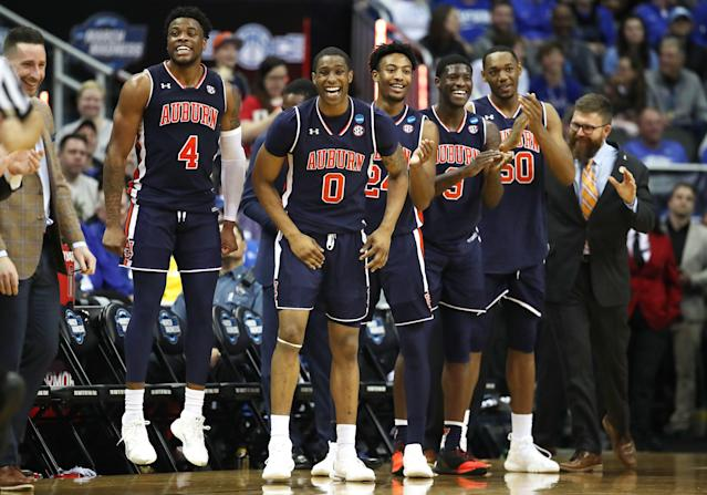 Auburn's win over North Carolina was cause for serious celebration back home. (Getty)