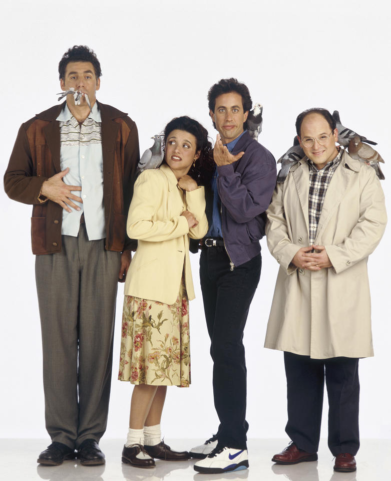 SEINFELD -- Season 5 -- Pictured: (l-r) Michael Richards as Cosmo Kramer, Julia Louis-Dreyfus as Elaine Benes, Jerry Seinfeld as Jerry Seinfeld, Jason Alexander as George Costanza  (Photo by George Lange/NBC/NBCU Photo Bank via Getty Images)