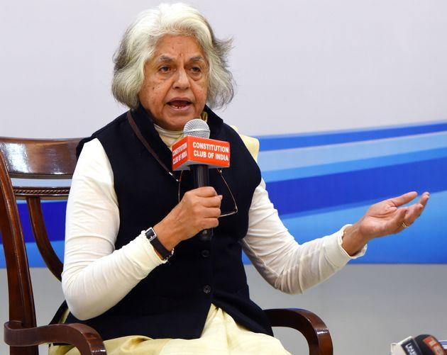 Supreme Court Lawyer Indira Jaising speaks at Constitution Club on March 8, 2019 in New Delhi, India.