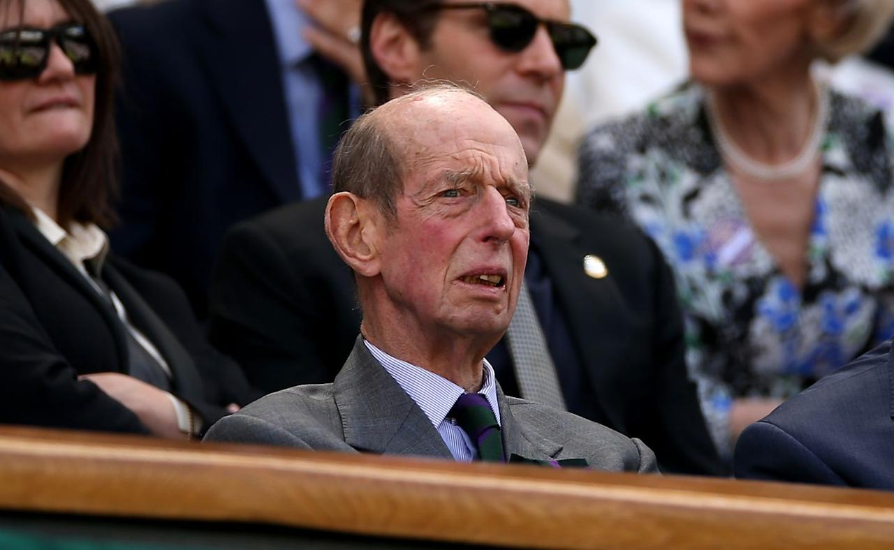 "<p>Prince Edward, Duke of Kent attended the very first day of this year's Wimbledon tournament. The Duke, who is the <a href=""https://www.townandcountrymag.com/society/a20736482/british-royal-family-tree/"" target=""_blank"">Queen's first cousin</a>, is a familiar face at Wimbledon: he has been the President of the All England Lawn Tennis and Croquet Club since 1969. Each summer, he watches multiple matches at the tournament and presents trophies to the winners. </p>"