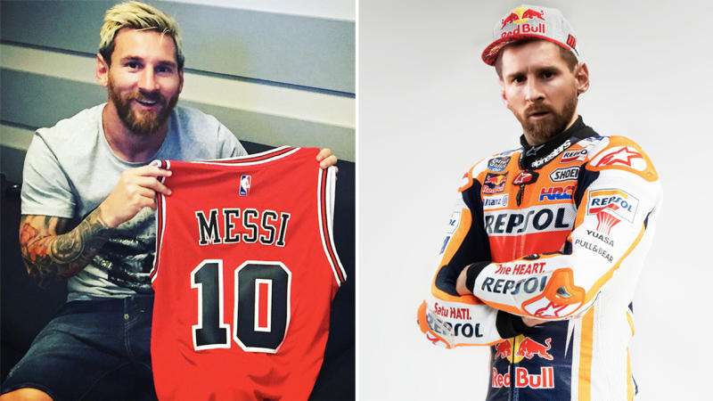 Lionel Messi holding a Chicago Bulls jersey (pictured left) and wearing a Honda race team tracksuit (pictured right).