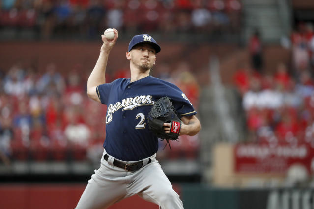Milwaukee Brewers starting pitcher Zach Davies throws during the first inning of a baseball game against the St. Louis Cardinals, Monday, Aug. 19, 2019, in St. Louis. (AP Photo/Jeff Roberson)