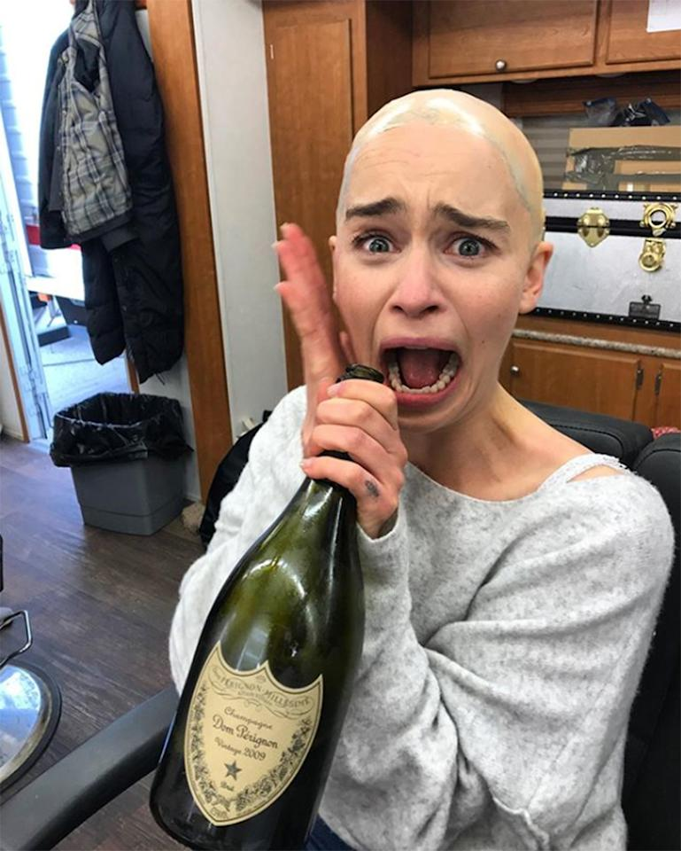 """""""This is what it took not only to shoot ep5...but to watch it too!"""" the <em>Game of Thrones</em> actress captioned <a href=""""https://www.instagram.com/p/BxZ_X27FLVU/"""">this photo</a>, hours after <em>Game of Thrones'</em> penultimate episode came to a close. We could have used a bottle of Dom, too, Emilia!"""