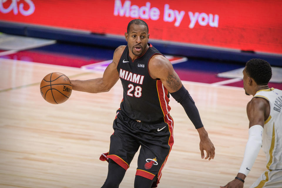 Jan 1, 2021; Dallas, Texas, USA; Miami Heat guard Andre Iguodala (28) brings the ball up court against the Dallas Mavericks during the second half at the American Airlines Center. Mandatory Credit: Jerome Miron-USA TODAY Sports