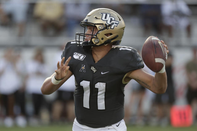 Central Florida quarterback Dillon Gabriel made his second-career start on Saturday. (AP Photo/John Raoux)
